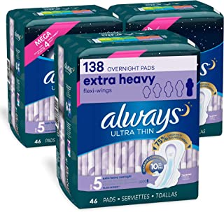 Always Ultra Thin Feminine Pads for Women, Size 5, Extra Heavy, Overnight Absorbency, with Flexi-Wings, Unscented, 46 Coun...