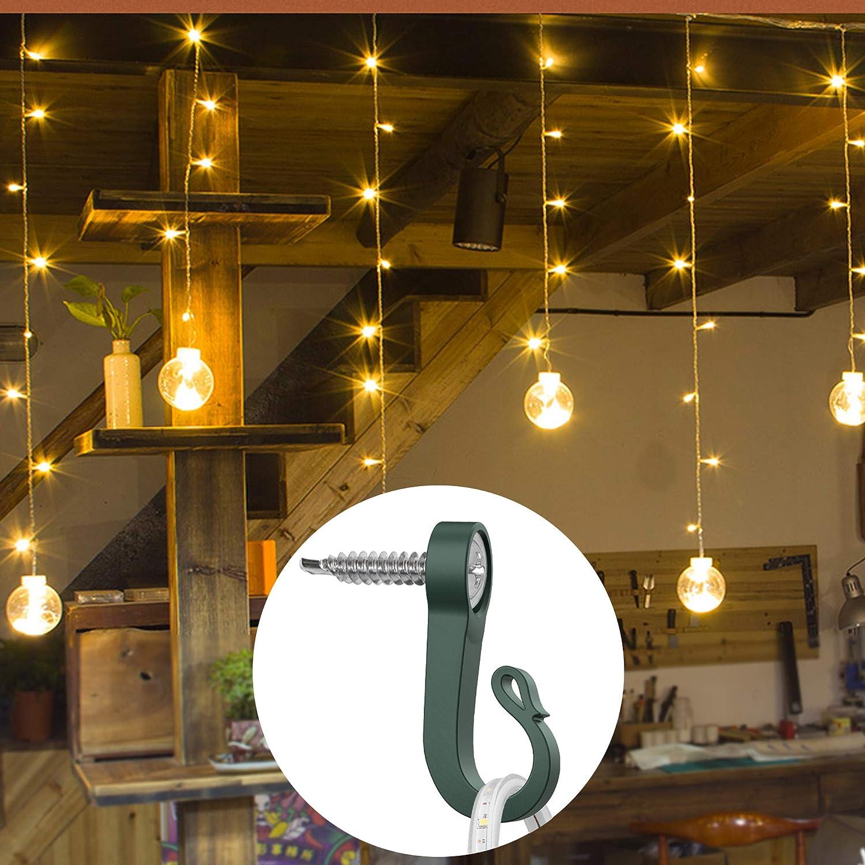 Christmas Light Hangers Hooks for Outdoor String Lights Safe Hanging Indoor Outdoor Christmas Light Garages LED Wire Fairy Lights BOZXYE 20 Pack Q-Hanger Hooks Retro Green
