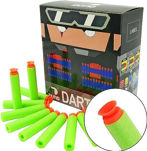 EKIND 100Pcs Suction Darts Compatible for Nerf N-Strike Elite Blaster (Green)