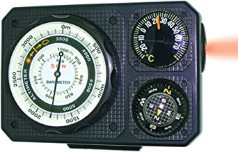 Sun Company Navigat'r 6 - Six-Function Dashboard Instrument for Car and Truck | Altimeter, Barometer, Ball Compass, Thermometer, LED Light, Signal Mirror