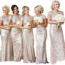Amazon Com Rose Gold Sequin Gown