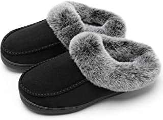 Sponsored Ad - Watelves Women's Cozy Memory Foam Slippers with Fluffy Faux Fur Collar and Non-Slip Rubber Sole House Shoes...