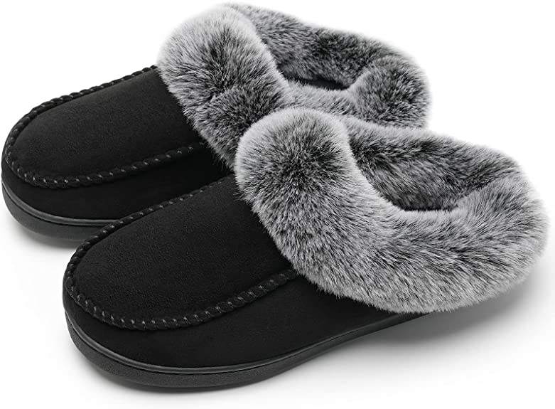 Watelves Women's Cozy Memory Foam Slippers with Fluffy Faux Fur Collar and Non-Slip Rubber Sole House Shoes Indoor & Outdoor