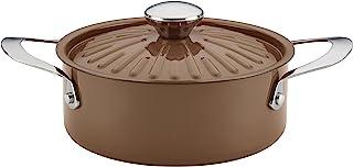 Rachael Ray Cucina Nonstick Dish/Casserole Pan with Lid, 2.5 Quart, Mushroom Brown