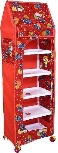 Flipzon Multipurpose 6 Shelve Baby Wardrobe Foldable Unbreakable Material Red