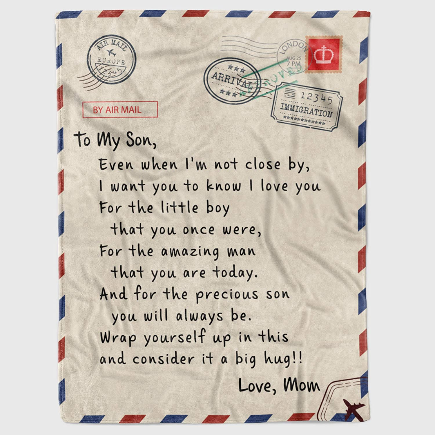 Personalized to My Son Gift Letter 売買 Blanket from for 信頼 M Fleece