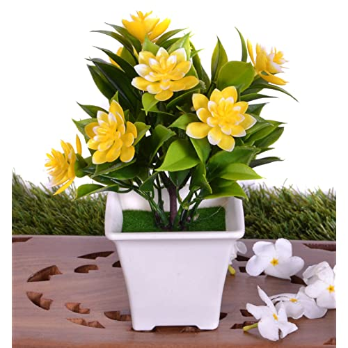 Pindia Artificial Yellow Flower Plant with Pot for Home and Office Decor (7x7x16.5, cms)