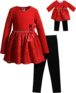 Girls' Long Sleeve Sparkle Lace Dress and Legging with Matching Doll Outfit