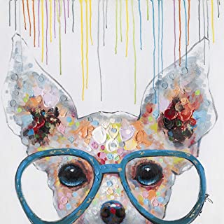 Chihuahua Big Blue Glasses Wall Art Modern Printing On Canvas Painting with Hand Embellished Home Decor 28