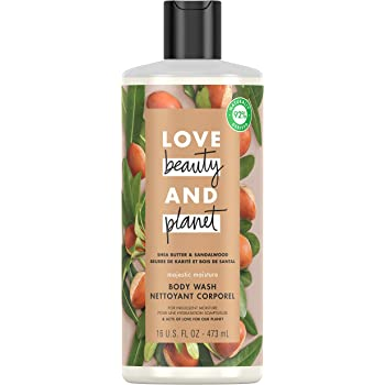 Love Beauty & Planet Majestic Moisture Body Wash for Indulgent Moisture Shea Butter & Sandalwood Hydrating Bodywash 16 oz