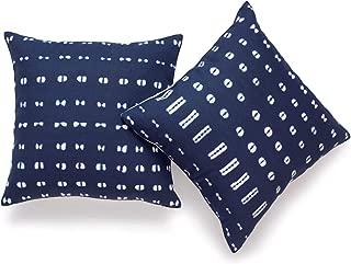 Hofdeco African Mudcloth Pillow Cover ONLY, Indigo Shibori Inspired Print, 18