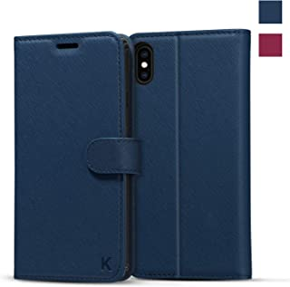 iPhone Xs Max Wallet Case [Saffiano Leather] [RFID Blocking] [Shock-Absorbent Bumper] [Card Slots] [Folding Stand] Flip Folio Case Compatible with iPhone Xs Max - Blue