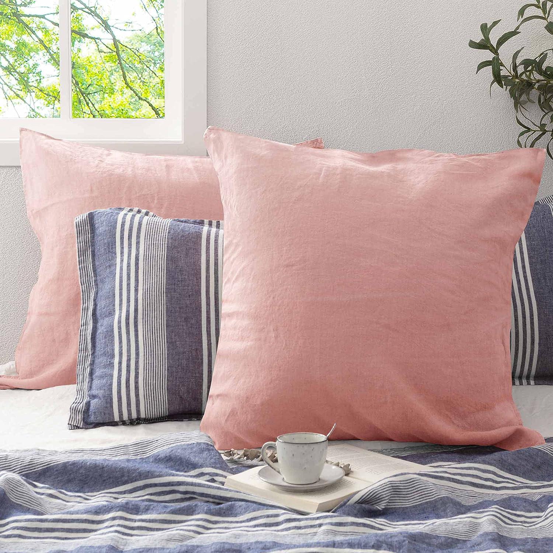 ATLINIA Linen New sales Cotton Pillow Case Max 64% OFF Set Euro 26'' of Pill x 2