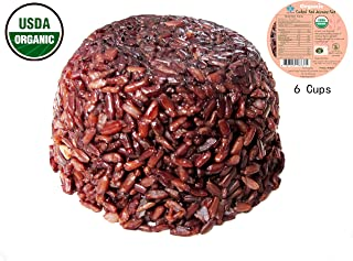 100% USDA Certified - Organic Cooked Thai Jasmine Red Rice - Steamed Rice Microwave Bowl - Superfood Healthy Ready to Eat (Cooked Red Jasmine 6 Cups (4.6 oz))