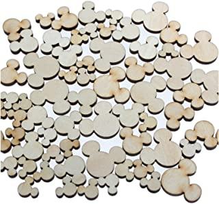 yuhoshop: 100 pcs [Mickey Shaped] Mini Mixed Small Tiny Wooden Embellishments - Scrapbooking Shapes for Craft Decor Button