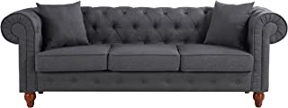 Divano Roma Furniture Classic Linen Fabric Scroll Arm Tufted Button Chesterfield Style Sofa (Dark Grey)