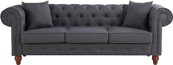 Divano Roma Furniture Classic Linen Fabric Scroll Arm Tufted Button Chesterfield Style Sofa Dark Grey