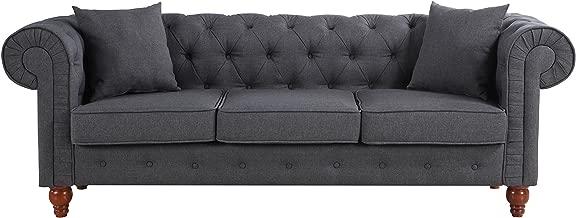 Divano Roma Furniture Classic Linen Fabric Scroll Arm Tufted Button Chesterfield Style Sofa (Dark Grey)
