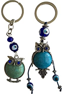 Blue Evil Eye Keychain Ring for Protection and Blessing, Set of 2 Turquoise Beautiful Owls Charms for Wisdom, Great Gift