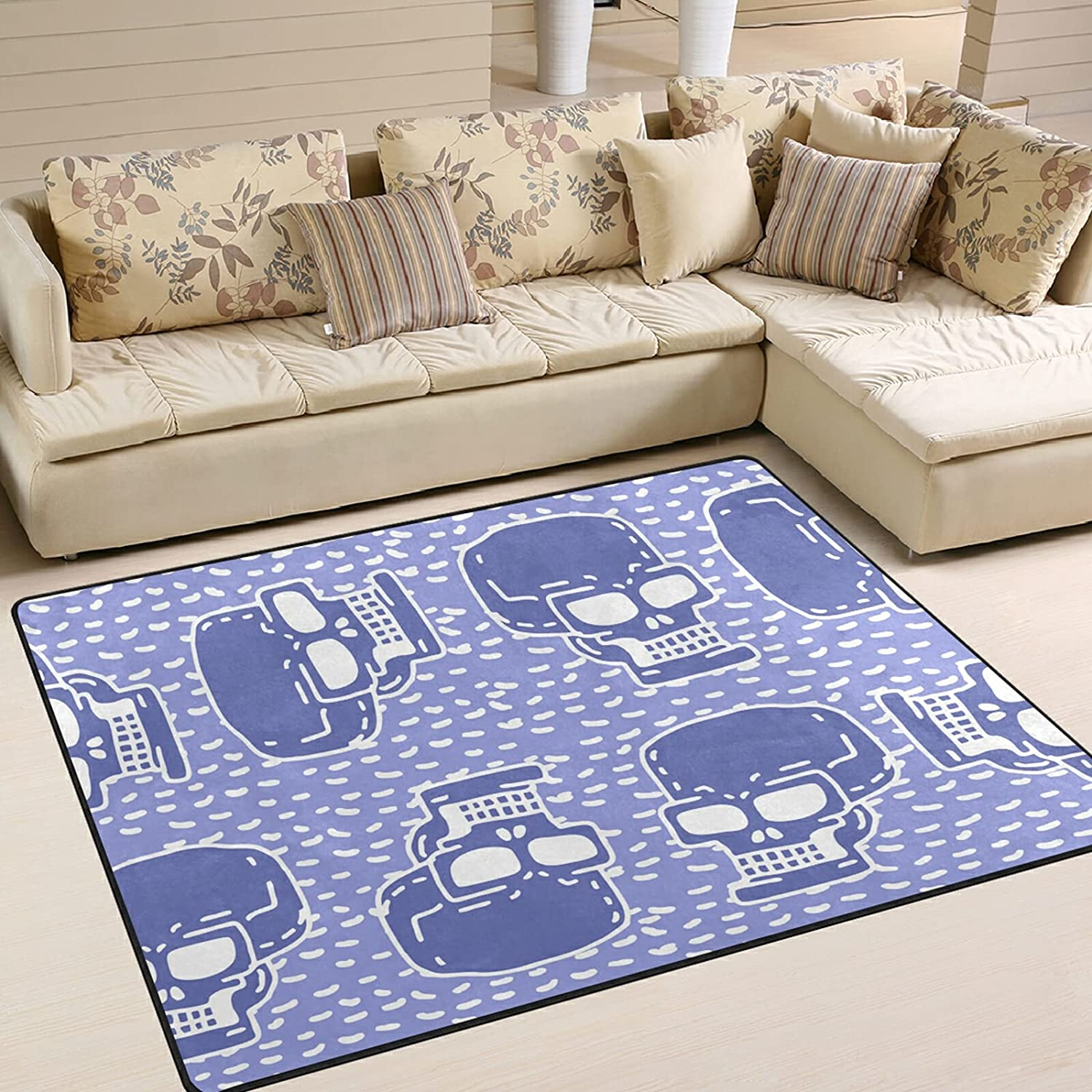 Modern Albuquerque Mall Area Rugs 5x7 Washable - Skeleton Skull Halloween So Sales for sale Head