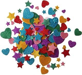 255 pcs Glitter Foam Stickers, Self-Adhesive Stars & Heart Shapes Glitter Sticker Children Kid's Arts Craft Supplies Greeting Cards Home Decoration