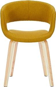 AC Design Furniture, 60105, Sedia da Salotto Jack, Seduta in Stoffa, Giallo (Gelb)