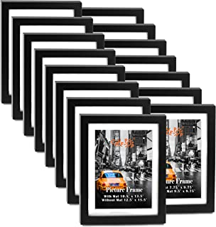 "8x10"" Black Wood Textured Picture Frame Set of 15, 8x10 Large Picture Frames with Mat (With Mat 7.75 x 9.75""; Without Mat 9.5 x 11.5""), Gallery Wall 8x10 Hanging Picture Frames Set for Living Room"