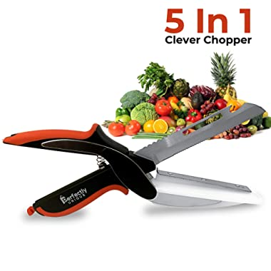 Clever Food Chopper | Easy Smart Cutter | Multipurpose 5 in 1 Smart Chopper | Clever Smart Cutter For Fruits and Vegetables | Food Cutter Clever Kitchen Knife | Perfect for Picnics and BBQ's