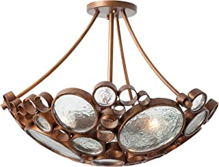 Fascination 3-Light Close to Ceiling - Hammered Ore Finish with Recycled Clear Bottle Glass Shade