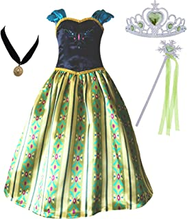 Girls Coronation Dress Princess Costume Necklace Tiara Wand Set