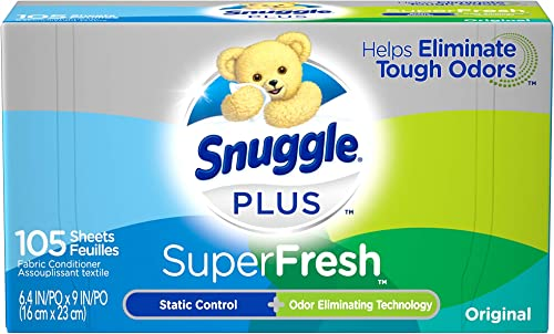 Snuggle Plus Super Fresh Fabric Softener Dryer Sheets with Static Control and Odor Eliminating Technology, 105 Count ...
