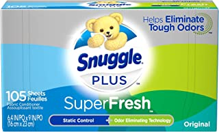 Snuggle Plus Super Fresh Fabric Softener Dryer Sheets with Static Control and Odor Eliminating Technology, 105 Count (Pack...