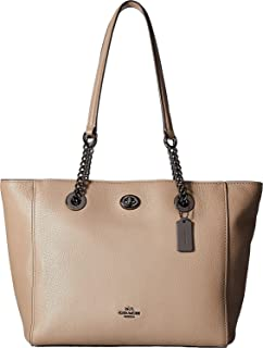 COACH Womens Pebbled Leather Turnlock Chain Tote 27