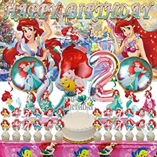 The Little Mermaid 2nd Party Decorations   Ariel   Supplies   Second   Two   Banner   Balloons   For Girl   Backdrop   Dec...