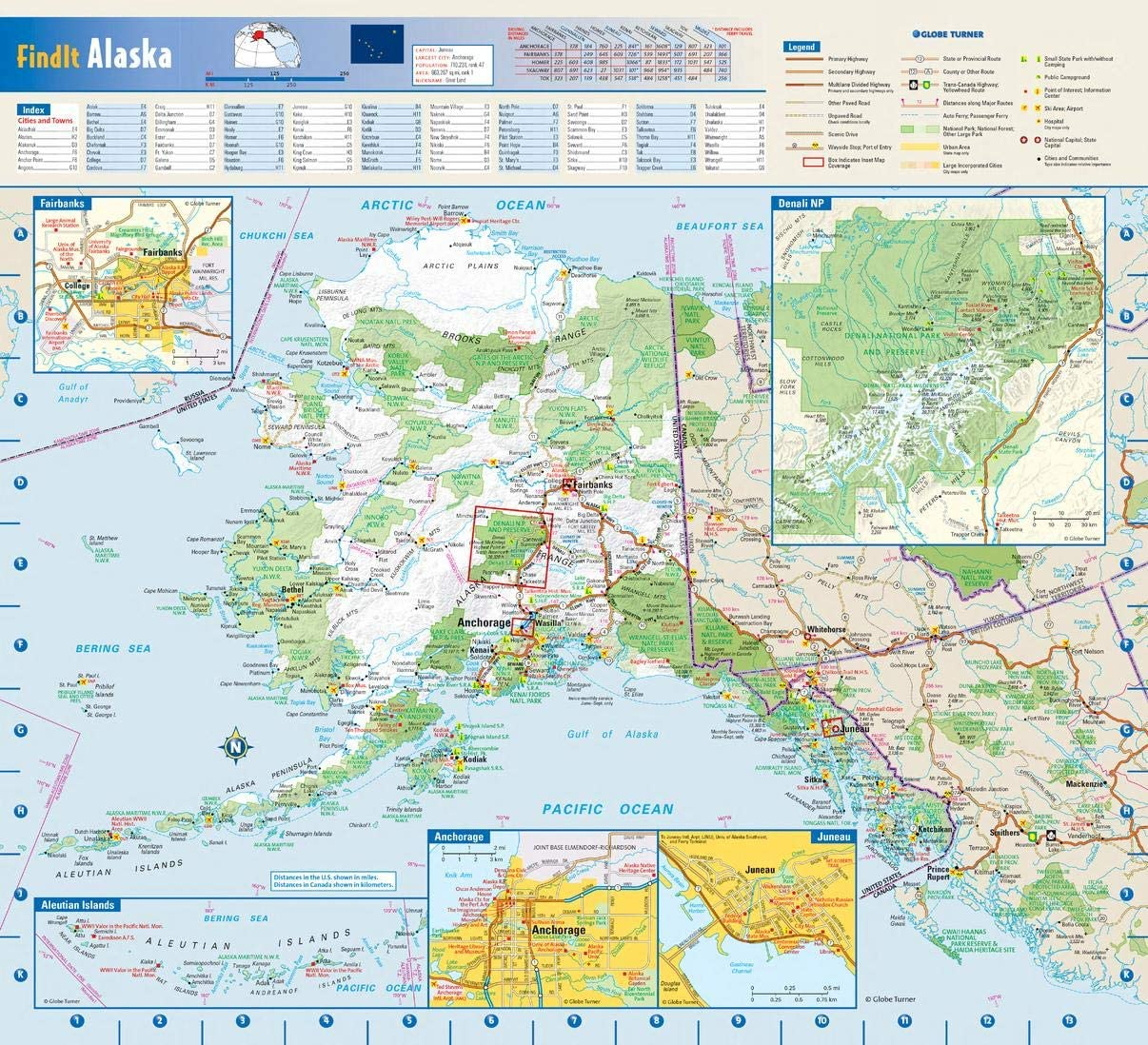 Alaska State Wall Free shipping anywhere in the nation Map - Laminated x 16.75