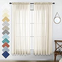 Neutral Linen Look Sheer Curtains 63 Inch Length Pair Set Light Filtering Semi Sheer Window Drapes for Bedroom Living Room...