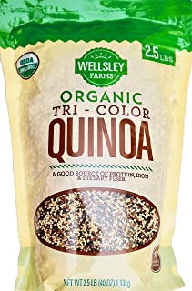 Wellsley Farms 100% USDA Organic Tri-Color Quinoa, 2.5 Pounds