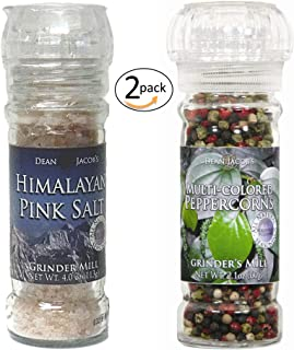 Gourmet Glass Grinders of: Himalayan Pink Salt and Multicolor Peppercorn Refillable Mill Set for Your Dining Enjoyment