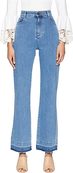 High-Waist Jeans with Raw Hem in Ink Marine