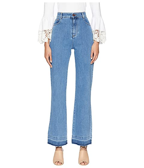See by Chloe High-Waist Jeans with Raw Hem in Ink Marine