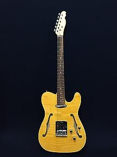 Haze HSTL-1901-2FH Semi-Hollow Body Electric Guitar,Yellow,F-Hole+Free Gig Bag