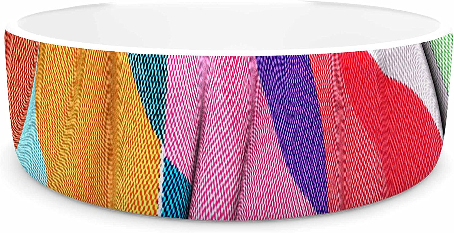 KESS InHouse Danny Ivan Timeless texture  Stripes Multicolor Pet Bowl, 7