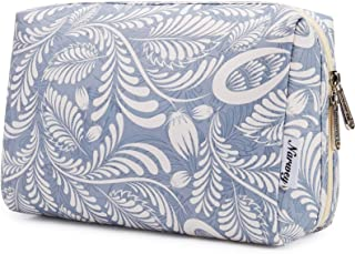 Large Makeup Bag Zipper Pouch Travel Cosmetic Organizer for Women and Girls (Large, Blue Leaf)
