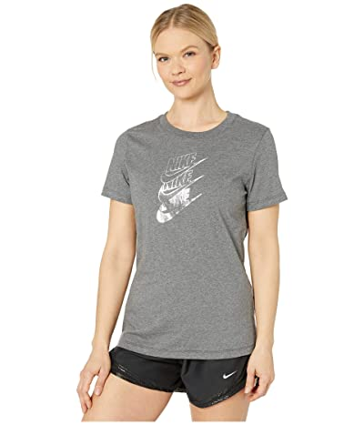 Nike NSW Tee Statement Shine (Charcoal Heather/Metallic Silver) Women