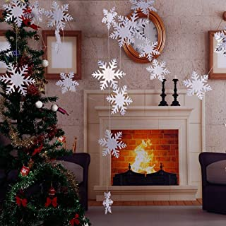 Christmas Party Decorations,24Pcs Holiday 3D White Snowflake Hanging Garland Flags -Christmas,Home Decor,Holiday,New Years Party Decoration