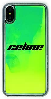 MARBLEFY Personalized Neon Green Yellow Liquid Sand case for iPhone Xs/Xr/Max/8/7/6/Plus Protective Glow in the Dark Waterfall Retro 90s sturdy hard case