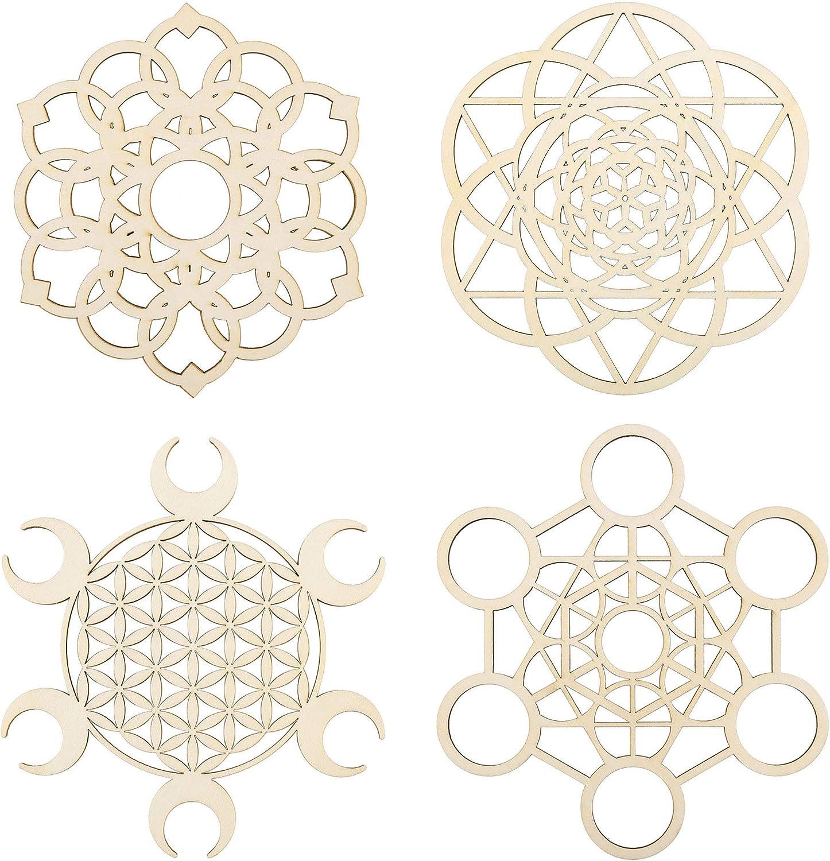 CozyCabin Sacred Geometry Crystal Grid Set of 4, Sacred Geometry Wall Art Wood, Flower of Life Crystal Grid Board, for Yoga and Meditation Sacred Geometry Decor