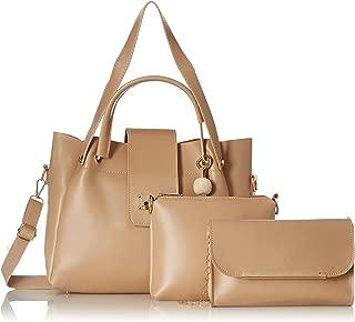 Envias Women's Leatherette Handbag & Sling Bags Combo (Cream) (Set of 3)