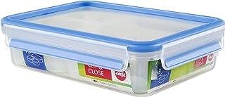 Emsa 512897 Frischhaltedose mit 3 Einsätzen, Volumen 1.20 Liter, Transparent/Blau, Clip & Close, 8.89 x 6.57 x 2.32 in./2...