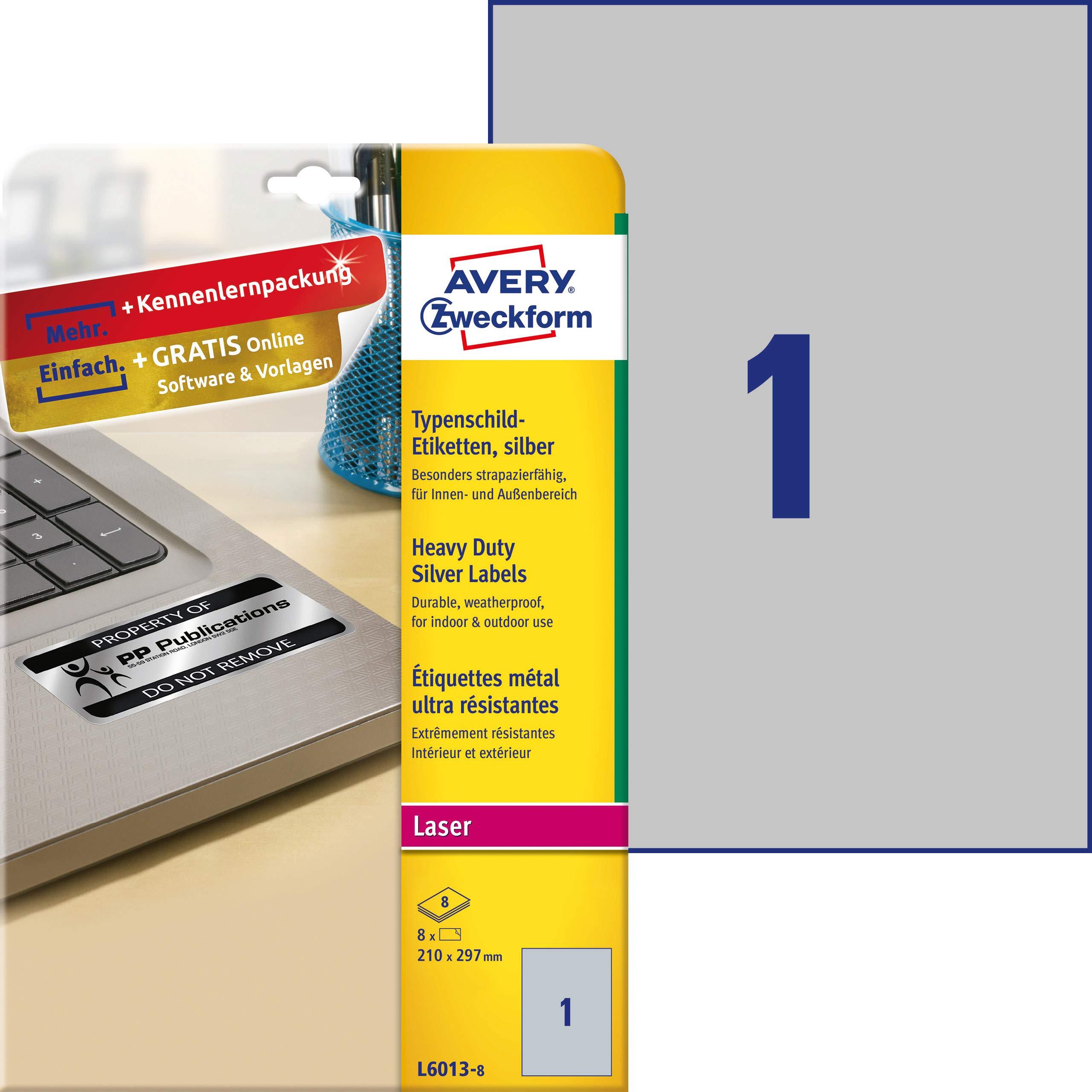 Avery España L6013-8 - Pack de 8 hojas de etiquetas para seguridad, 210 x 297 mm, color plata: Amazon.es: Oficina y papelería